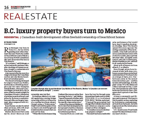 Real estate article on Cary Mullen of Vivo Resorts in Puerto Escondido MX