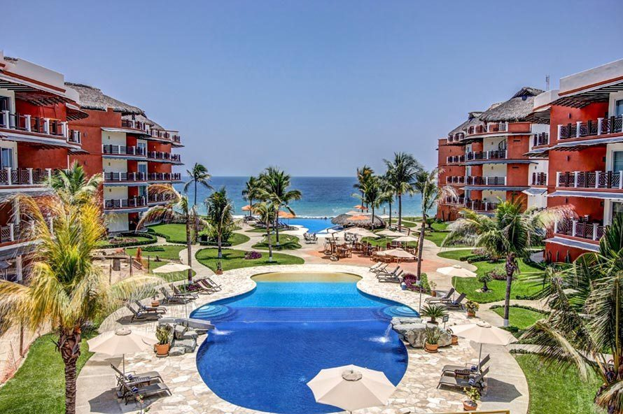 View of Pacific Ocean looking out from Vivo Clubhouse at Vivo Resorts in Puerto Escondido MX