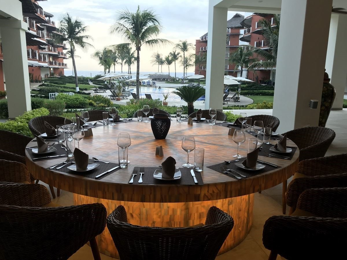 Looking out at Pacific Ocean from restaurant table at Vivo Resorts Puerto Escondido MX