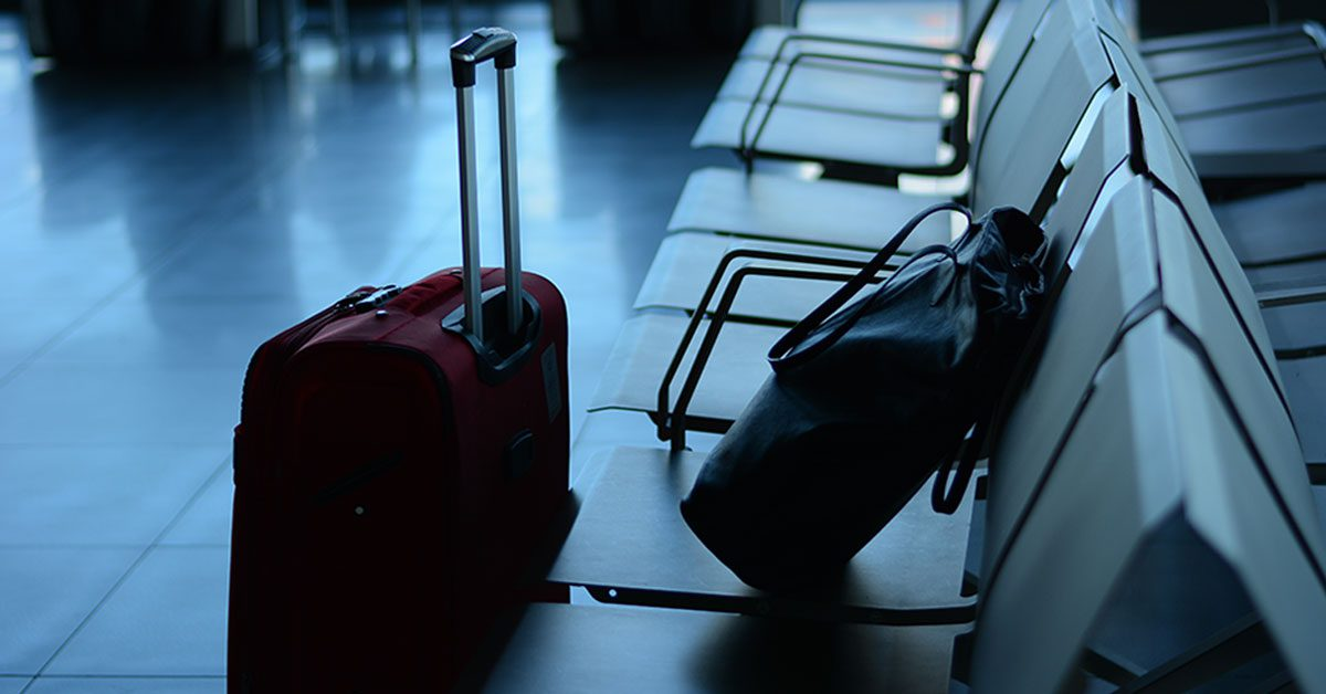 Unaccompanied Luggage at an airport waiting area