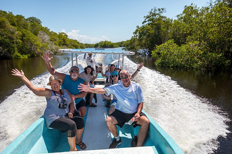 Boat excursion during discovery tour